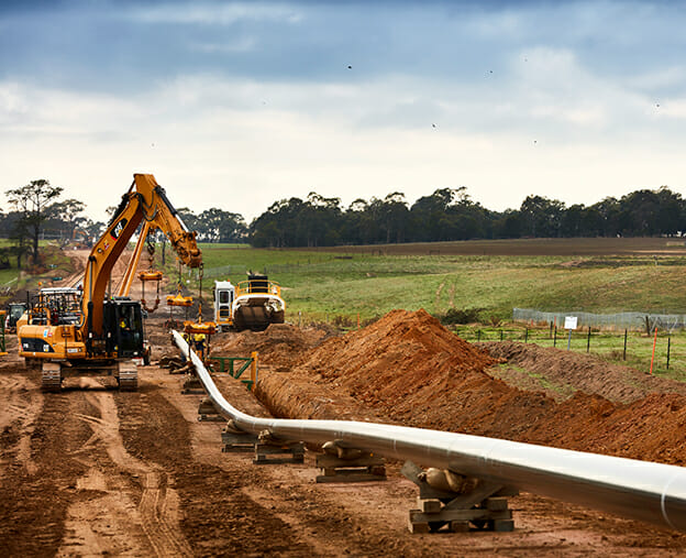 construction underway on a pipeline